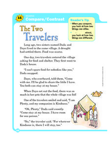 The Two Travelers: Compare and Contrast Worksheet