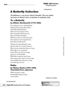 A Butterfly Collection: Cross Text Analysis Worksheet