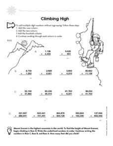 Climbing High Worksheet