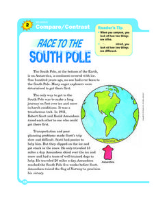 Compare/ Contrast: Race To The South Pole Worksheet