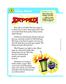 Cause/Effect: Zapped Worksheet