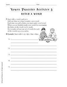 Vowel Practice Activity 3: Build A Word Worksheet