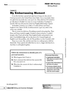 My Embarrassing Moment: Writing Model Worksheet