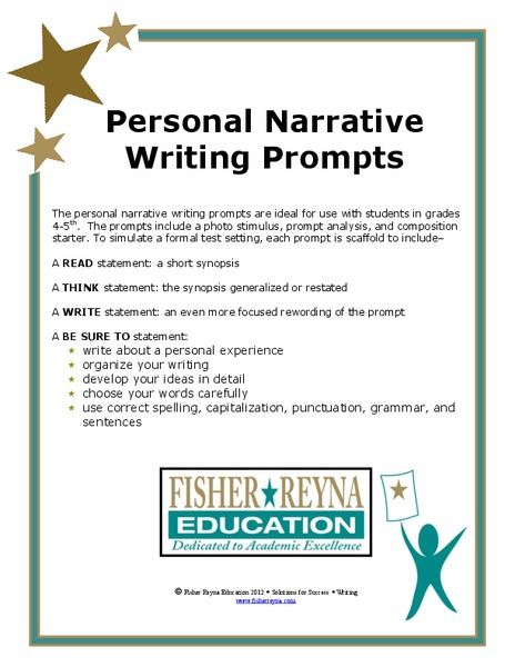 Personal Narrative: Writing Prompts Worksheet for 6th - 8th