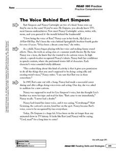 The Voice Behind Bart Simpson: Sequence of Events Worksheet