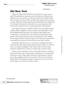 Reading Comprehension: Old New York Worksheet