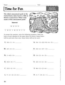 Solving Equations Using Order of Operations Worksheet
