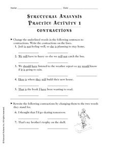 Structural Analysis Practice Activity: Contractions Worksheet
