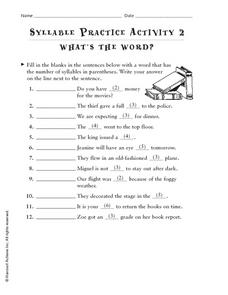 What's The Word: Syllable Practice Worksheet