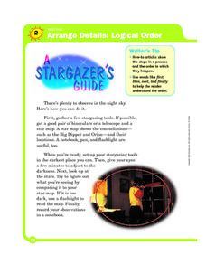 Logical Order: A Stargazer's Guide Worksheet