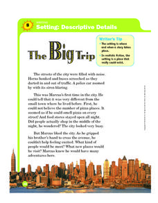 Story Setting: The Big Trip Worksheet