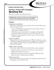 Reading 1 Project: MTV Unplugged Worksheet