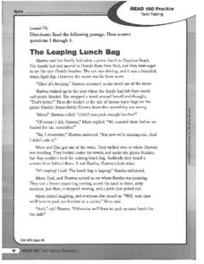 The Leaping Lunch Bag: Text Evidence Worksheet