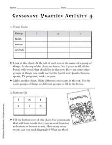 Consonant Practice Activity 4 Worksheet
