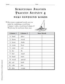 Structural Analysis Practice Activity 4: Compound Words Worksheet