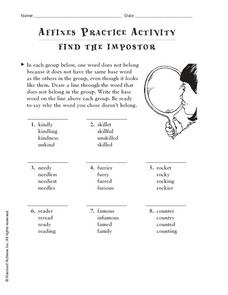 Affixes Practice Activity: Find the Imposter Worksheet