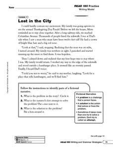 Lost in the City: Fictional Narrative Worksheet