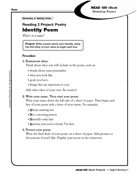reading project 2 poetry identity poem worksheet for 6th 8th grade lesson planet. Black Bedroom Furniture Sets. Home Design Ideas
