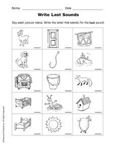 Write Last Sounds Worksheet