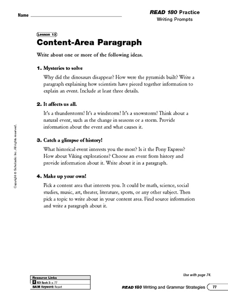Writing Prompts: Content-Area Paragraph and Creating a Topic Sentence Worksheet