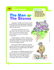 Writing Moral/Lesson: The Man and the Stones Worksheet