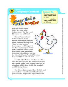 Compare/ Contrast: Mary Had a Little Rooster Worksheet
