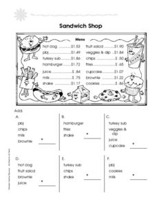 Sandwich Shop Worksheet
