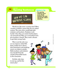 Opening Sentences: How We Can Improve School Worksheet