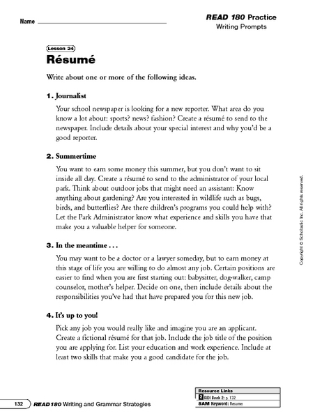 Resume Writing Prompts And Categorizing Information Worksheet For 6th   8th  Grade | Lesson Planet