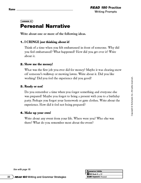 personal narrative writing prompts and writing in first person worksheet for 6th 9th grade. Black Bedroom Furniture Sets. Home Design Ideas