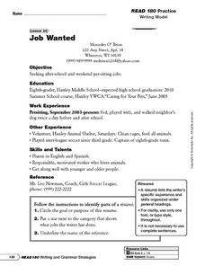 Writing Model: Job Wanted Worksheet
