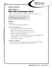 Quick Project: Web Site Scavenger Hunt Worksheet