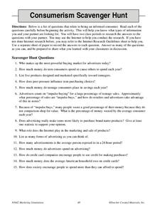 Consumerism Scavenger Hunt Worksheet