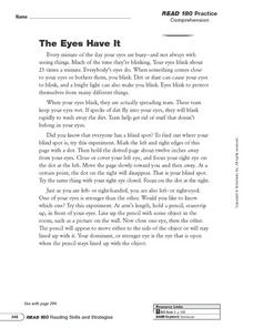 The Eyes Have It: Summarize Worksheet