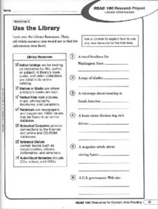 Use the Library Worksheet
