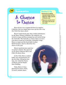 A Chance to Dance Worksheet