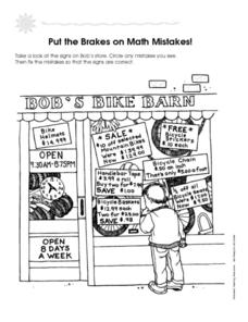 Put the Brakes on Math Mistakes Worksheet