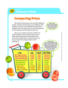 Consumer Skills: Comparing Prices Worksheet