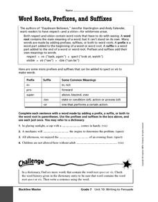 Word Roots, Prefixes, and Suffixes Worksheet