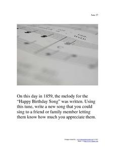 June 27th Writing Prompt Worksheet
