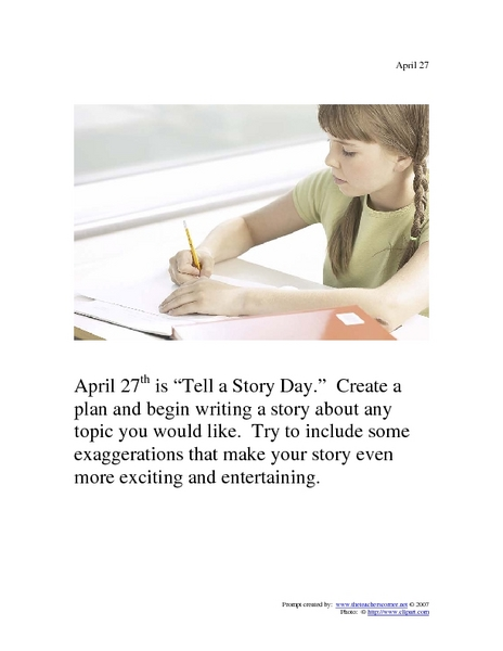 April 27th Writing Prompt Worksheet