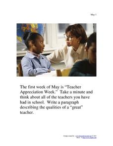 May 1st Writing Prompt Worksheet