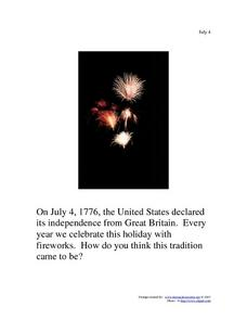 July 4th Writing Prompt Worksheet