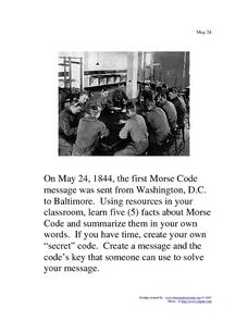 May 24, 1844 - Morse Code Message Worksheet