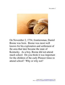 November 2, 1734 - Daniel Boone Worksheet