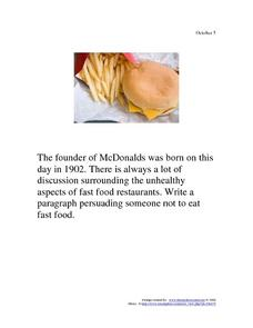 October 5, 1902 - McDonald's Worksheet