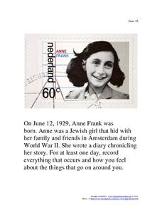 June 12, 1929 - Anne Frank Worksheet
