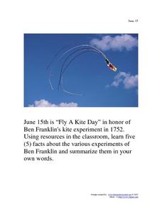 June 15 - Fly a Kite Day Worksheet