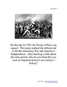 September 3, 1783 - Treaty of Paris Worksheet