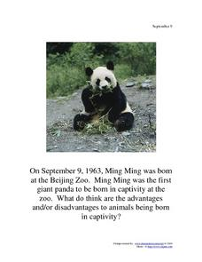 September 9, 1963 - Ming Ming Worksheet